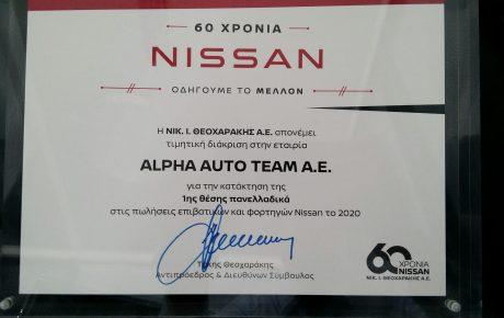 Η Nissan Alpha AutoTeam κατακτά την 1η θέση στις πανελλαδικές πωλήσεις
